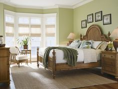 Love the green and how refreshing and relaxing this room feels! Beach House Belle Isle Bed by Tommy Bahama.