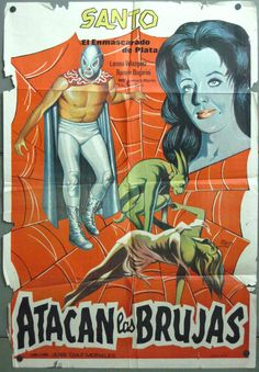 VP08 SANTO ATACAN LAS BRUJAS ATTACKS THE WITCHES orig 1sh SPANISH POSTER