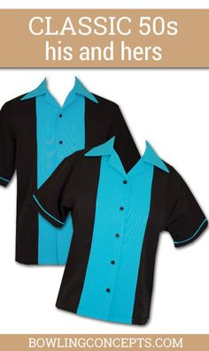 Have some Classic 50's Fun in this bowling shirt featuring a 1950s inspired design complete with a solid black shirt with bubble gum pink or turquoise.