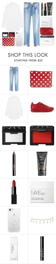 """""""Untitled #279"""" by tayebaya ❤ liked on Polyvore featuring Frame, Comme des Garçons, Vetements, Reebok, NARS Cosmetics, Casetify and Luv Aj"""