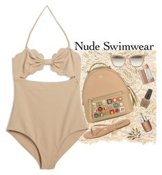 """Nudist Beach"" by rachael-aislynn ❤ liked on Polyvore featuring Faliero Sarti, Marysia Swim, Jimmy Choo, Tkees, Marc Jacobs, Fendi, OPI, Christian Dior, Alexandre de Paris and Summer"