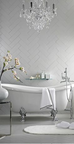 White herringbone wall tile.