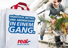 Kunde: real,- Warenhaus - Kampagne - Text Paper Shopping Bag, Advertising, Reusable Tote Bags