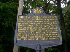 The next time you switch on your favorite ‪#‎cable‬ TV show, think Pennsylvania. In June 1948, the first cable television system in PA, believed to be the first in the U.S., was established in Mahanoy City, Pennsylvania. https://www.facebook.com/PATrailsofHistory/posts/10153074328817669
