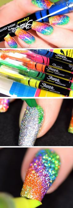 Sparkly Highlighter Rainbow DIY Back to School Nails for Kids Awesome Nail Art Ideas for Fall Trendy Nail Art, Nail Art Diy, Easy Nail Art, Cool Nail Art, Diy Nails, Nail Nail, Sharpie Nails, Manicure Ideas, Kids Manicure