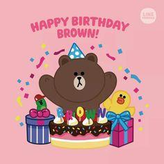 Cony Brown, Brown Bear, Happy Birthday Lines, Jacob And Rachel, Happy Bird Day, Cute Couple Cartoon, Birthday Wallpaper, Bunny And Bear, Cute Love Gif