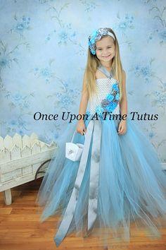 Aqua Blue White Gray Flower Girl Tutu Dress  by OnceUponATimeTuTus