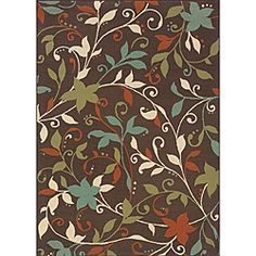 @Overstock - This floral Caprina outdoor area rug will make your outdoor spaces feel more like home with shades of brown, blue, orange and green. This durable polypropylene rug will endure the elements and continue to look great for many years.http://www.overstock.com/Home-Garden/Caprina-Brown-Green-Outdoor-Area-Rug-86-x-13/6303784/product.html?CID=214117 $242.24