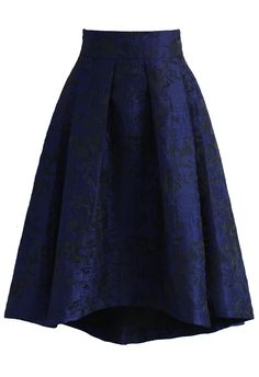 Navy Glam Embossed Waterfall Skirt - New Arrivals - Retro, Indie and Unique…
