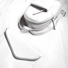 JULIELINGMA · White Crocodile Texture Backpack, White Assymetrical Clutch
