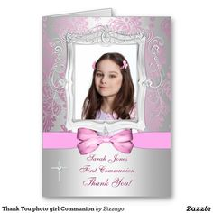 Thank You photo girl Communion Greeting Cards