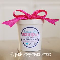 FREEBIES: Here's the Scoop Teacher Appreciation Free Printable » Pink Peppermint Prints and Parties teacher appreciation week teacher appreciation gift ideas teacher appreciation free printables @Misty Joiner this would be cute with Lulu's gift cards!