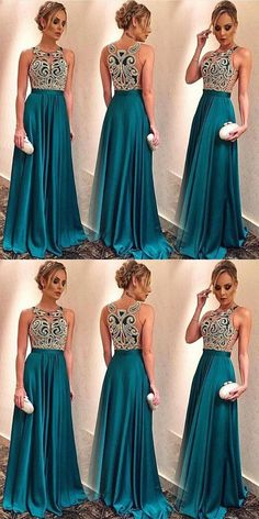 Prom Dresses Ball Gown, A-Line Round Neck Sweep Train Turquoise Prom Dress with Appliques, from the ever-popular high-low prom dresses, to fun and flirty short prom dresses and elegant long prom gowns. Prom Party Dresses, Bridesmaid Dresses, Formal Dresses, Wedding Dresses, Pretty Dresses, Beautiful Dresses, Turquoise Prom Dresses, Popular Dresses, Ball Gowns