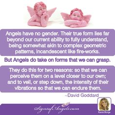 Angels are very high vibrational energy. We are 3 dimensional and vibrate at a slower rate. The Angels must slow their vibration to be perceived by us. Help them by raising your vibration to meet theirs. ~ Karen Borga, The Angel Lady