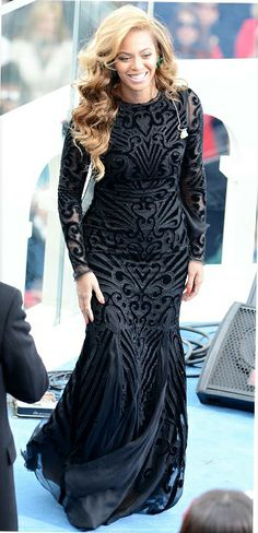 Beyonce Inauguration dress - the long sleeve evening gown trend is hot! #prom #dresses