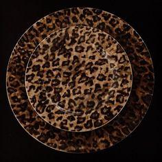 Dark leopard print plates.