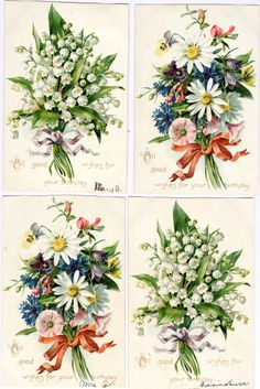 #Victorian #scrap #floral #chromograph #lithograph #daisy #forget-me-nots (turn of the century postcards)