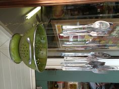 Colander with forks for fun kid craft and outdoor chime