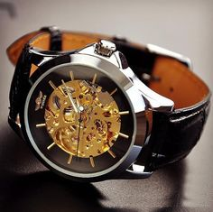 Men's vintage watch / handmade watch / leather band watch / chain hollow out mechanical watch (wat104-black)