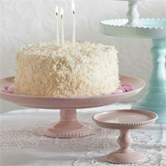 Pink Porcelain Large Rimmed Cake Stand. For wedding, birthdays, baby showers, and so much more! $79.99