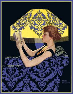 Coles Phillips Reading lamp 1915, Good Housekeeping cover