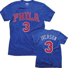 6a7673155 Allen Iverson Philadelphia 76ers Majestic Threads Tri-Blend Hardwood  Classic Name  amp  Number T