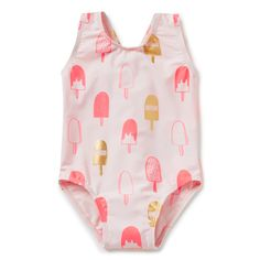 One-piece bather features all-over popsicle yardage print. Available in Ice Pink. Baby Girl Swimsuit, Kids Swimming, Swimsuits, Swimwear, Popsicles, Kids And Parenting, To My Daughter, Kids Fashion, Girl Outfits