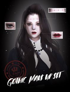 【 Gothic make up set】 The Sims, Gothic Makeup, Amai, Body Poses, Sims 4 Mods, I Hope You, Thats Not My, Punk, Texture