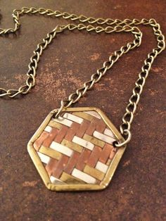 Vintage Chevron Pendant Necklace in Shades of Gold. $22.00, via Etsy.