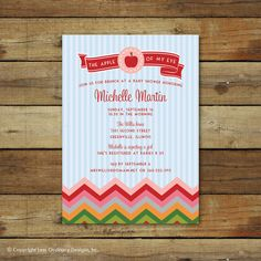 apple of my eye baby shower invitation by saralukecreative on Etsy, $15.00