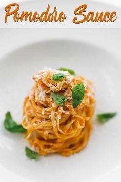 Simple Authentic Pomodoro Sauce Recipe - If you are looking for a delicious tomato sauce for your pasta or Chicken parmesan, then look no further then this Pomodoro Sauce Recipe that comes together in under 45 minutes. #pomodoro #tomato #tomatosauce #italian #pomodorosauce Sauce Recipes, Pasta Recipes, Cooking Recipes, Recipes Dinner, Keto Recipes, Pasta Dishes, Food Dishes, Main Dishes, Pomodoro Sauce Recipe