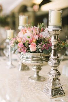 silver candle sticks and pedistal bowl centerpiece Flower Centerpieces, Flower Decorations, Wedding Centerpieces, Flower Arrangements, Table Arrangements, Classic Wedding Themes, Classic Romantic Wedding, Elegant Wedding, Wedding Reception Flowers