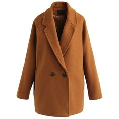 Chicwish  Dandy My Style Wool-Blend Coat in Caramel (4.330 RUB) ❤ liked on Polyvore featuring outerwear, coats, brown, caramel coat, brown coat and wool blend coat