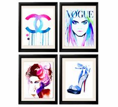 Set of 4 Art Prints for the Fashionista Fashion Illustrations of Original Watercolor Paintings Salon Decor Blue High Heels Pink Hair. Just a little reminder: Airmail from England to the USA usually only takes one to three weeks to arrive - not the four to six weeks Amazon states as the shipping time. Set of 4 Art Prints of original watercolor paintings from my Fashion series. Set of 4 Fashion Illustrations Direct from my studio, in Suffolk, England, signed & dated. Carefully packaged for...