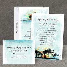 ocean, beach, destination, plam tree, sunset wedding invitations | tropical watercolor all in one wedding invitation