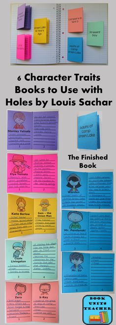 FREE PRINTABLES  ~~  The finished books contain 6 pages where students can list character traits for the main characters. This is a valuable tool for a book such as Holes with three story plots taking place. An answer key is included to make this activity a print and go project.