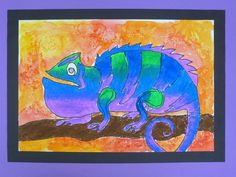 """The Calvert Canvas: Adventures in Middle School Art!: Colorful Chameleons  Next, students blended oil pastels to fill in the bodies of the reptiles. They used analogous colors (those which are next to each other on the color wheel) that were in the same warm or cool color family and later added the opposite, naturally contrasting color family to their background using a """"wet on wet"""" watercolor wash."""