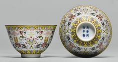 A PAIR OF FAMILLE-ROSE BOWLS TONGZHI MARKS AND PERIOD each enameled on the exterior with four gilt shuangxi characters divided by stylized lotus, all between a ruyi band at the rim and a lotus-lappet band at the foot, marks in underglaze blue Rose Bowl, Chinese Ceramics, Qing Dynasty, Chinese Antiques, Plates And Bowls, Fine Porcelain, Antique Items, Chinese Art, Asian Art