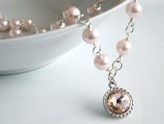 Rivoli Crystal Pendant  Pink Pearls Necklace  by crystalglowdesign