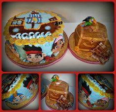 Jake & The Neverland Pirates 1st birthday - with treasure chest smash cake