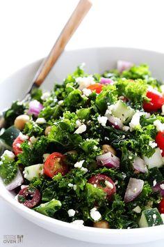 Chopped Kale Greek Salad http://www.changeinseconds.com/chopped-kale-greek-salad/ #glutenfree #vegetarian