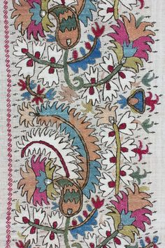 Floral embroidery on antique textile. Late-Ottoman, Early 19th century. This is 'two-sided embroidery' (front and rear are identical).
