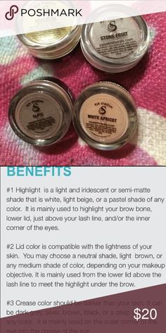 4 Sweet Minerals Eye Shadows Eyeshadow 4 Sweet Minerals Eye Shadows Eyeshadow - appletini, stone fruit, slate & white apricot. Sweet Minerals Makeup Eyeshadow