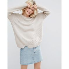 ASOS ECO Sweater In Super Soft Yarn (€37) via Polyvore featuring tops, sweaters, beige, tall sweaters, wet look top, round neck sweater, party tops and lightweight sweaters