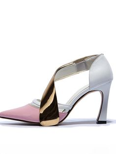 Stylish Color Contrast Stiletto Heel Pink Sandals For Women