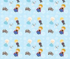 Frozen snowy queen and friends fabric by nicole_lee on Spoonflower - custom fabric