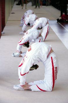 Team Russia - Rhythmic gymnasts in training.