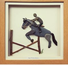 pebble art Horse riding