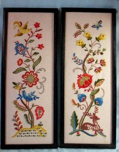 1960's Completed Pair of Framed JACOBEAN Floral Crewel Embroidery Pictures