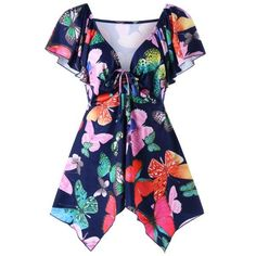 RoseWholesale - Rosewholesale Plus Size Low Cut Butterfly Print T-shirt - AdoreWe.com
